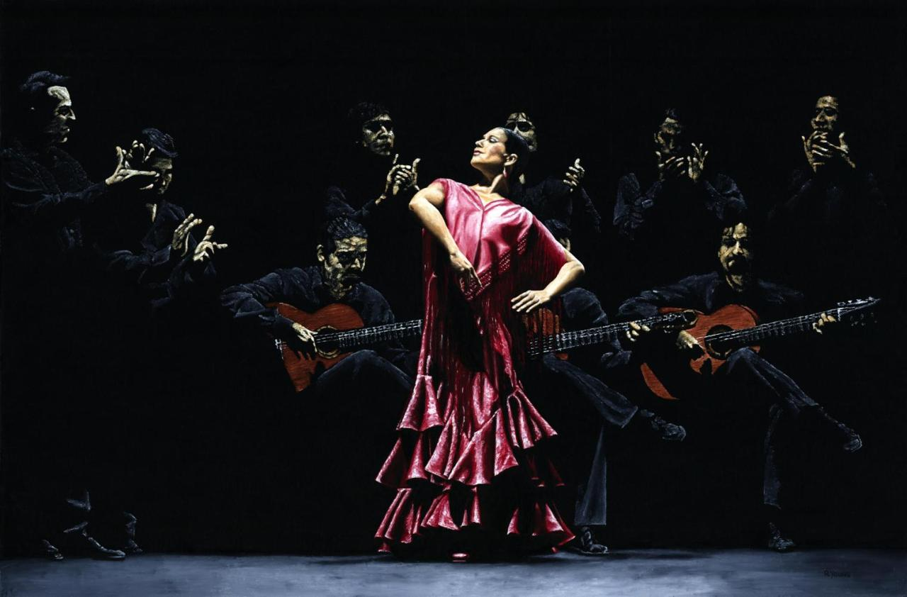 Bailarina Orgullosa del Flamenco (Proud Flamenco Dancer) Fine art original oil painting. 91cm x 61cm. The Ballet Nacional de Espana - (BNE - Spanish National Ballet) and Ana Moya