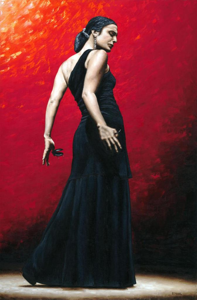 Flamenco Arrogancia - Fanny Ara (Arrogant Flamenco). Fine art original oil painting on a 91cm x 61cm stretched canvas created in 2009 using a knife. Produced in cooperation with Fanny and Alliance Francais de Washington. Original available. Framed = £1,598