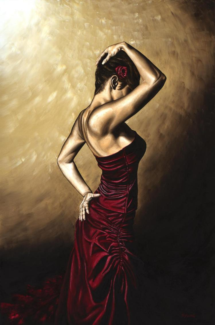 Flamenco Woman. Fine art original oil painting on a 91cm x 61cm stretched canvas created in 2007 using a knife. Produced in cooperation with Mehmet Targut. Original available.