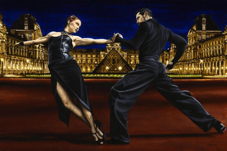 Last Tango in Paris. Fine art original oil painting on a 91cm x 61cm stretched canvas created in 2007 using a knife. Produced in cooperation with Natalie Laruccia, Walter Perez and Sandra Antognazzi. Original available. Framed = £3,500