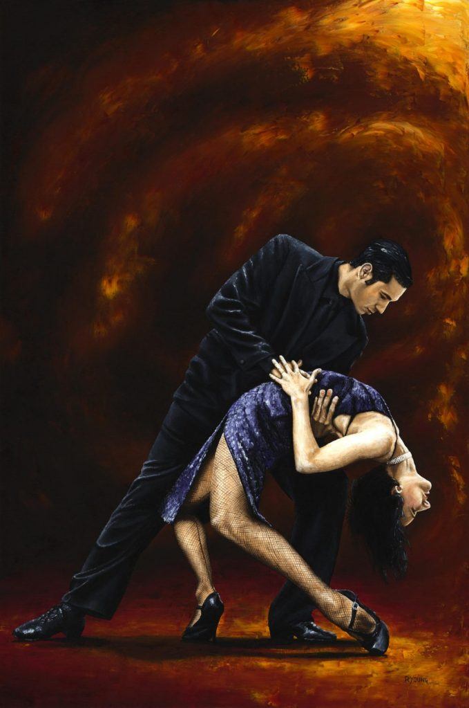 Lost in Tango. Fine art original oil painting on a 91cm x 61cm stretched canvas created in 2006 using a knife.Produced in cooperation with Natalie Laruccia, Walter Perez and Sandra Antognazzi. Original available. Framed = £1,000