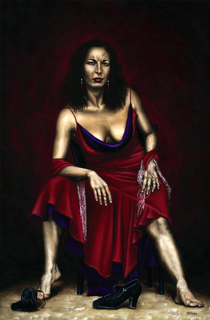 Portrait of a Dancer - Maria Serrano. Fine art original oil painting on a 91cm x 61cm stretched canvas created in 2006 using a knife. Produced in cooperation with Maria and Siggi Kögel. Original available. Framed = £1,598