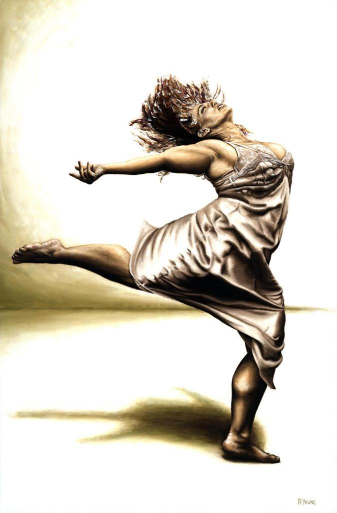 Rubenesque Dancer - Alexandra Beller. Fine art original oil painting on a 91cm x 61cm stretched canvas created in 2008 using a knife.Produced in cooperation with Alexandra. Original available. Framed = £1,598
