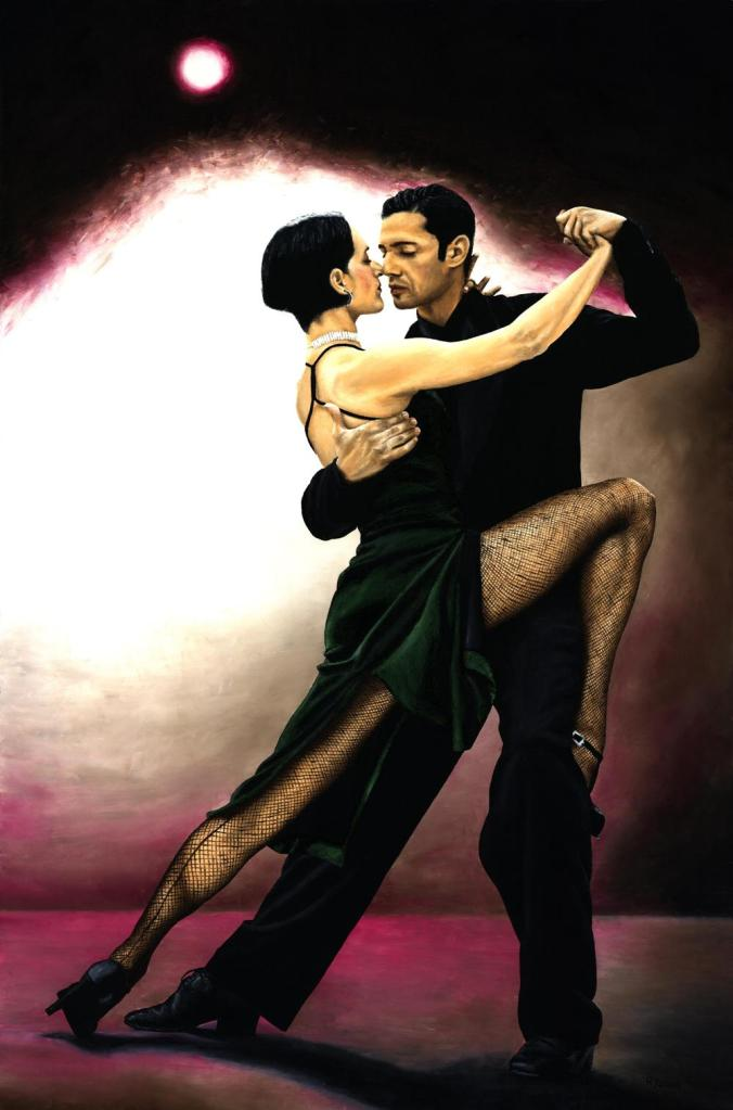 The Temptation of Tango. Fine art original oil painting on a 91cm x 61cm stretched canvas created in 2006 using a knife. Produced in cooperation with Natalie Laruccia, Walter Perez and Sandra Antognazzi. Original available. Framed = £2,225