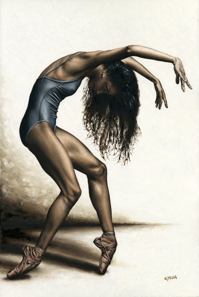 Dance Intensity - Arianni Martin. Fine art original oil painting on a 91cm x 61cm stretched canvas created in 2017 using a knife. Produced in cooperation with Ron Brewer and Arianni. Original available. Framed = £1,850
