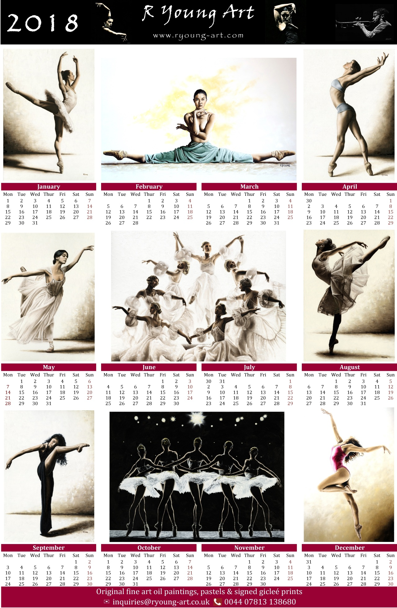 2018 high resolution R Young Art Dance calendar
