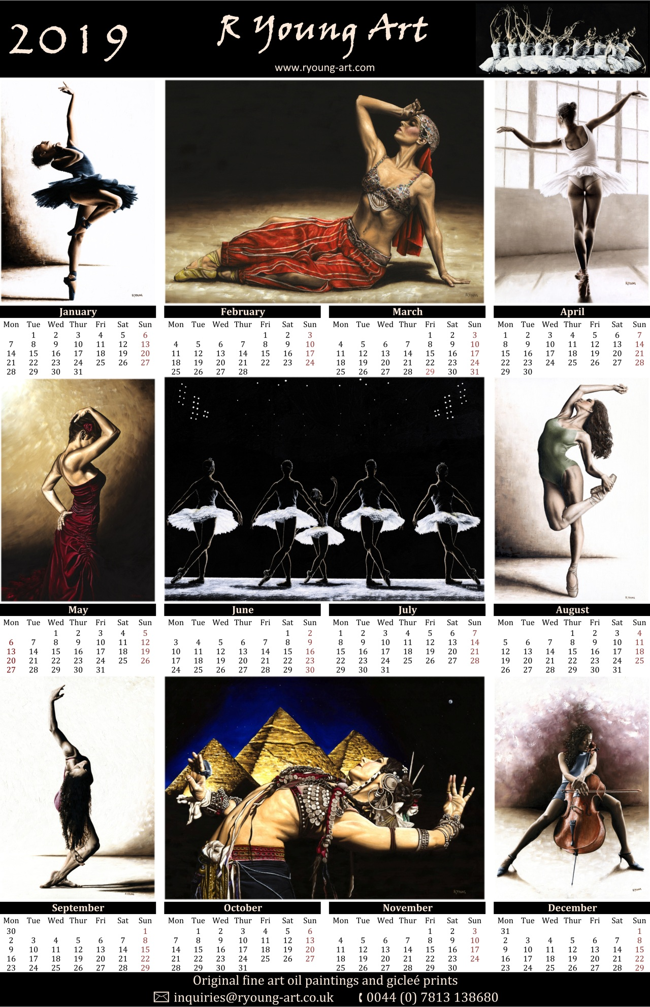 2019 R Young Art dance calendar - Available artwork