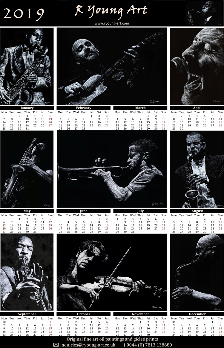 2019 high resolution R Young Art Musicians calendar