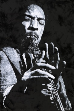 Freedom in Sax - Sam Rivers. Fine art original oil painting on a 91cm x 61cm stretched canvas created in 2018 using a knife. Produced in cooperation with Michael Cuscuna and Mosaic Records. Original available. Framed = £1,495