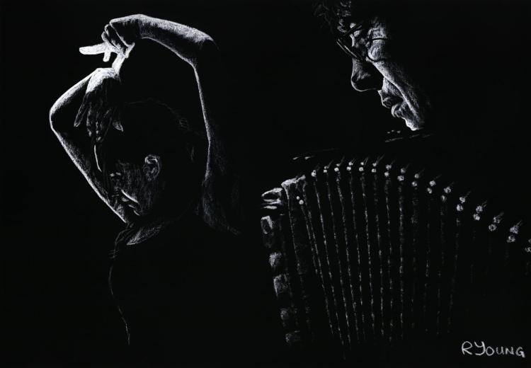 The Intensity of Flamenco. Fine art original pastel on a 70cm x 50cm pastel card created in 2007. Produced in cooperation with Ahmad Kavousian and Daniele Pardi. Original available. Framed = £449