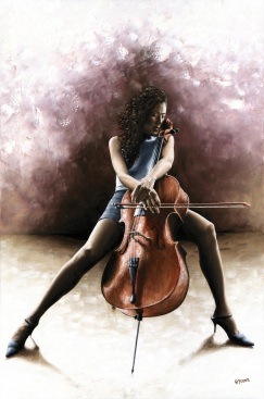 Tranquil Cellist - Tere Keating. Fine art original oil painting on a 91cm x 61cm stretched canvas created in 2012 using a knife Produced in cooperation with Carey More and Tere. Original available. Framed = £1,495