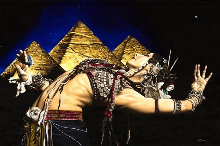 Bellydance of the Pyramids - Rachel Brice. Fine art original oil painting on a 91cm x 61cm stretched canvas created in 2007 using a knife. Produced in cooperation with Mark Rahmani and Rachel. Original available. Framed = £1,598