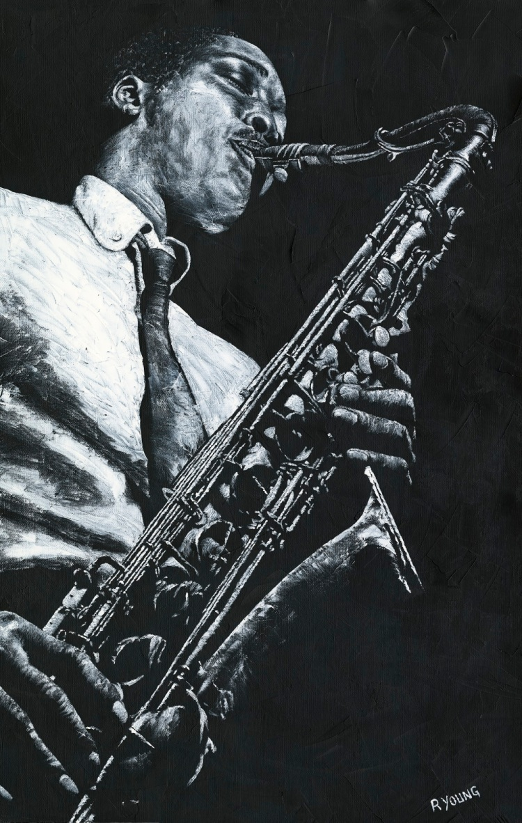 Expressive Sax - Hank Mobley. Fine art original oil painting on a 91cm x 61cm stretched canvas created in 2018 using a knife. Produced in cooperation with Michael Cuscuna and Mosaic Records. Original available. Framed = £1,495
