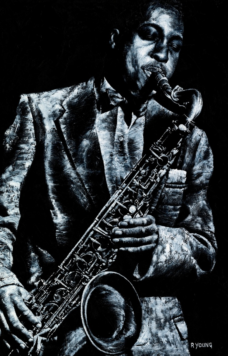 Soul Jazz - Hank Mobley. Fine art original oil painting on a 91cm x 61cm stretched canvas created in 2018 using a knife. Produced in cooperation with Michael Cuscuna and Mosaic Records. Original available. Framed = £1,495