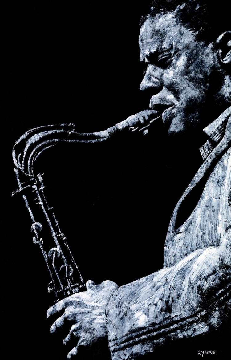Emotional Sax - Wayne Shorter. Fine art original oil painting on a 91cm x 61cm stretched canvas created in 2006 using a knife. Produced in cooperation with Michael Cuscuna and Mosaic Records. Original available. Framed = £1,495